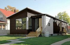 Warm and Comfortable Small Contemporary Prefab Home : Homey Small Modern House Exterior Design In Dark Brown And White Then Added With Charming Rustic Reclaimed Wood Staircase Building A Small House, Building A Container Home, Container House Plans, Metal Building Homes, Container Houses, Container Cabin, Container Buildings, Minimalist House Design, Small House Design