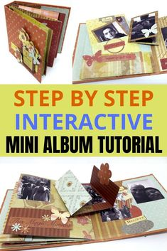 6 different interactive mini album ideas to make your pages pop! Follow the tutorial to see how #einatkessler #minialbum #craft #tutorial #scrapbooking Craft Projects For Adults, Arts And Crafts For Adults, Creative Arts And Crafts, Easy Craft Projects, Craft Tutorials, Craft Ideas, Heritage Scrapbooking, Photo Album Scrapbooking, Scrapbook Albums