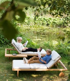 swimmingpond with vis vis teak loungers by trib - Outdoor Lounge Vis A Vis