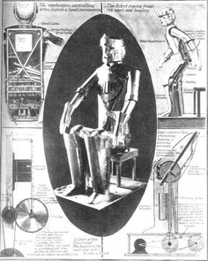 "Illustration for R.U.R. (Rossum's Universal Robots) by Karel Čapek, 1920  It is from this play that we get the word ""Robot"""