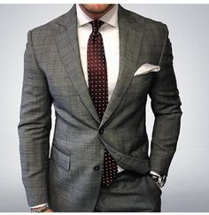 Grey Suit | Maroon & White Dotted Tie