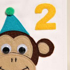 Handmade Cheeky Monkey Birthday Card Age 2