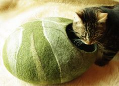 Cat cave green stone felted cat cave With GIFT pad by elevele, $67.00