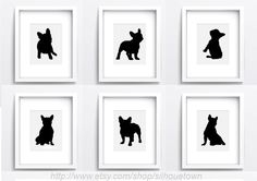 French bulldog, wall Art Set of 6, Black Dog Illustration, Frenchie Silhouette, Ink painting, Custom Drawing, Pet Portrait Home decor by ColorWatercolor on Etsy https://www.etsy.com/listing/236202658/french-bulldog-wall-art-set-of-6-black