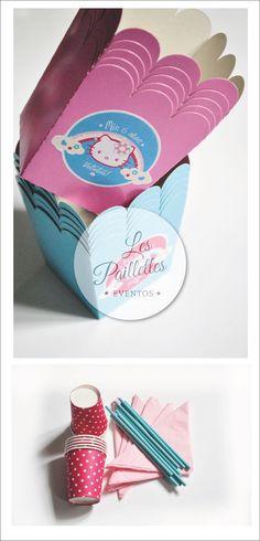 Insumos Cumpleaños Valentina. Hello Kitty #souvenirs #tags #party #cumpleaños #6years #kitty #dots #candybar #birthday #partysupplies #insumos #vasos #sorbetes #servilletas