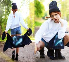 We Are Hairy People Denim Jacket, We Are Hairy People Sweater, We Are Hairy People Beanie, Tba Boots, 2hand Denim Shorts