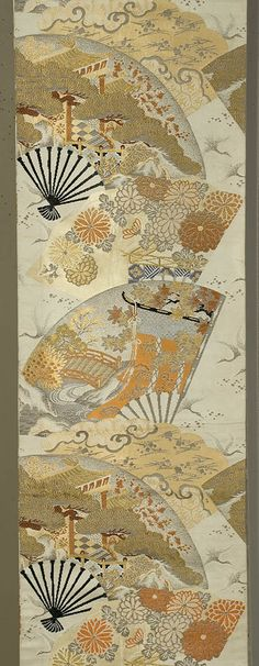 Maru obi, Japanese, 1940s. Silk and gold metallic brocading on silk. Fan motif with floral and landscape details. Peach, tangerine, pale yellow, gold, and creme on a silver-gray ground. Decorated on both sides for its full length, 12 1/2 x 150""