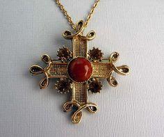 Vintage Maltese Cross Pendant Brooch Necklace w by thejewelseeker, $36.00