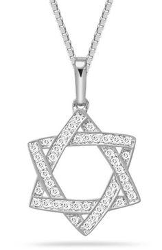0.25 Carat Diamond Star of David Pendant, 14K White Gold