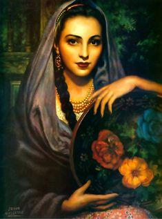 Michoacana, by legendary Mexican painter, Jesús Helguera (Taylor Monk Mexican Artwork, Mexican Folk Art, Mexican Artists, Santa Sara, Art Chicano, Jorge Gonzalez, Tatoo Art, Wow Art, Portraits