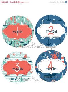 ON SALE Monthly Baby Boy Girl Stickers by MaineMomBoutique on Etsy, $8.99