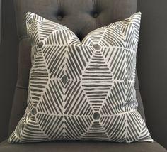 Gray Pillow Cover, Gray Ikat Pillow Cover - FYNN