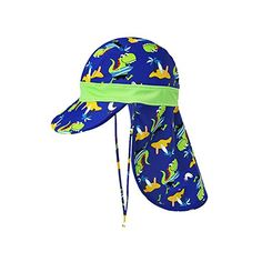 57628a24576 ACTLATI Baby Kids Boys Girls Neck Flap Hat UPF 50+ UV Ray Sun Protection Cap  with Chin Strap Adjustable