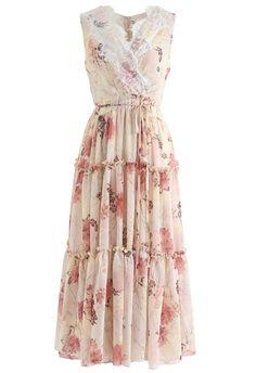 Easy and Breezy Watercolor Chiffon Maxi Dress pink Maxi Robes, Chiffon Maxi Dress, Chiffon Fabric, Dress Skirt, Flowy Gown, Vertical Striped Dress, Dress Neck Designs, Pink Floral Dress, Retro Dress