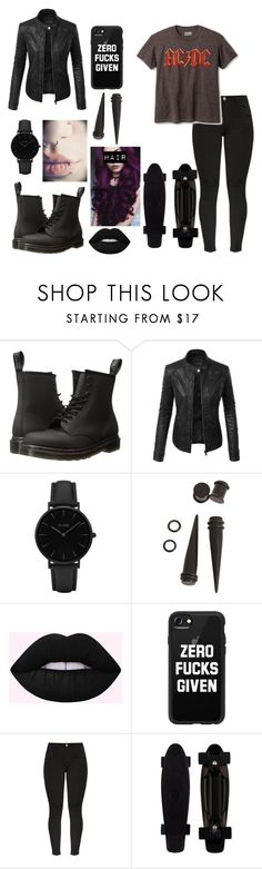 """Dark night"" by brebre25410 ❤ liked on Polyvore featuring Dr. Martens, LE3NO, CLUSE, Hot Topic and Casetify"