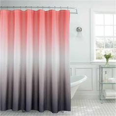 Ombre With Bead Rings Shower Curtain Set ($19) ❤ liked on Polyvore featuring home, bed & bath, bath, shower curtains and ombre shower curtains