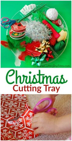 This Christmas Cutting Tray is fun and easy activity for developing scissor skills in preschoolers or kindergarteners. Let them snip away with festive holiday fine motor work!