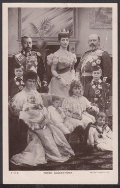 King Edward VII and Queen Alexandra. King George V, Queen Mary and their 6 children. Very unusual to see a family picture with baby Prince John. He had epilepsy and was sent away to live on a farm where he died after a seizure at age 13.