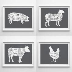 Kitchen decor  A4 Set of 4 Butcher Prints by OldEnglishCo on Etsy, £30.00