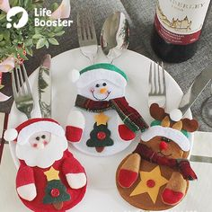 Best 12 Christmas Decorations snowman Silverware Holders Christmas ornaments for tables new year Home Decor – SkillOfKing. Gingerbread Christmas Decor, Elf Christmas Decorations, Christmas Gift Bags, Christmas Ornament Crafts, Noel Christmas, Felt Ornaments, Ornaments Ideas, Light Decorations, Xmas