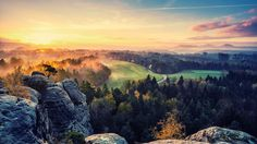 sunset landscapes trees forest hills valley  / 1920x1080 Wallpaper