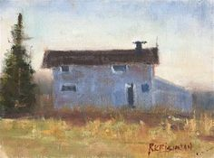 """Daily Paintworks - """"Morning at the Barn"""" - Original Fine Art for Sale - © Ria Krishnan"""