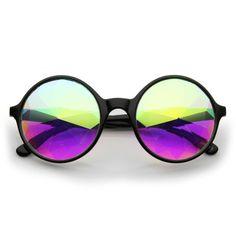 Unique Retro Round Crystal Kaleidoscope Lens Sunglasses 9627 ($18) ❤ liked on Polyvore featuring men's fashion, men's accessories, men's eyewear, men's sunglasses, mens round sunglasses and mens retro sunglasses