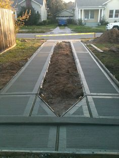 The concrete strips in a ribbon driveway should be at least 2 feet in width and located so that they are 5 feet on center (fig. When the ribbon is also used as a walk, the width of strips should be increased to at least 3 feet Driveway Design, Driveway Landscaping, Patio Design, Garden Design, Driveway Pavers, Driveway Ideas, Concrete Patios, Curb Appeal, Landscape Design