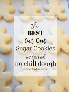 No Spread Sugar Cookie Recipe, Roll Out Sugar Cookies, Cookie Dough Recipes, Sugar Cookie Dough, Easy Cookie Recipes, Best Christmas Sugar Cookie Recipe, Cut Out Cookies, Cookie Cutter Dough Recipe, Decorated Sugar Cookie Recipe