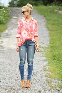 { Oversized Blooms: Floral print shirt, Distressed denim & Open-toe booties }