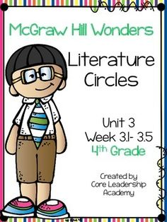 McGraw Hill Wonders Literature Circles~ 4th Grade Unit 3 Week 1-5This product contains literature circle graphic organizers for your on level, approaching,ell, and beyond  level reader groups.CLICK the GREEN STAR beside my picture to FOLLOW ME!You will be able to receive FREEBIES and stay up-to-date on my newest products and sales!!!!
