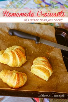 Buttery homemade croissants. Once you make your own following this simple recipe, you'll never choose store-bought again! | Jellibeanjournals.com