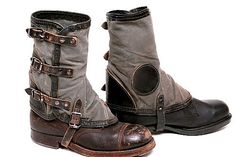 German Gaiters Leather and Canvas
