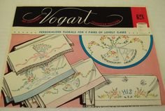 Vintage 1960s VOGART 4 Pretty Personalized Florals PILLOW Case Designs Iron On Embroidery Transfer Pattern #628 UNCUT by SweetLibertyStudio on Etsy
