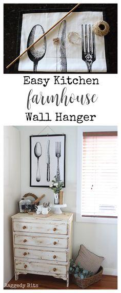 A fun Easy Kitchen Farmhouse Wall Hanger to make to had some farmhouse charm to … Diy Wall Art, Diy Wall Decor, Decor Crafts, Diy Home Decor, Easy Crafts, Easy Diy, Kitchen Wall Art, Kitchen Decor, Decorating Kitchen