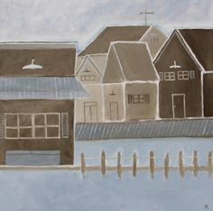 Dockside by Dana Palmer  Acrylic painting  30 x 30 by C2CGallery, $675.00