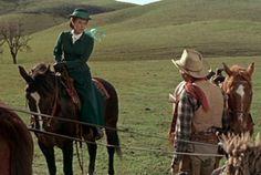 Maureen O'Hara and Jimmy Stewart in The Rare Breed (1966).