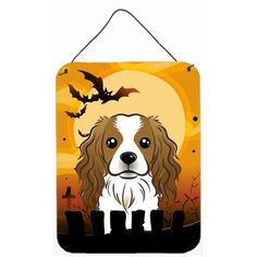 "Caroline's Treasures Halloween Cavalier Spaniel by Denny Knight Graphic Art Plaque Size: 16"" H x 12"" W"