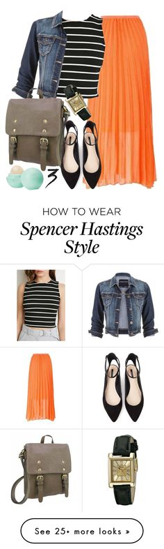 """""""Spencer Hastings inspired outfit with a pleated maxi skirt"""" by liarsstyle on Polyvore featuring Forever 21, Geneva, maurices, Eos, Manic Panic, college and mid"""