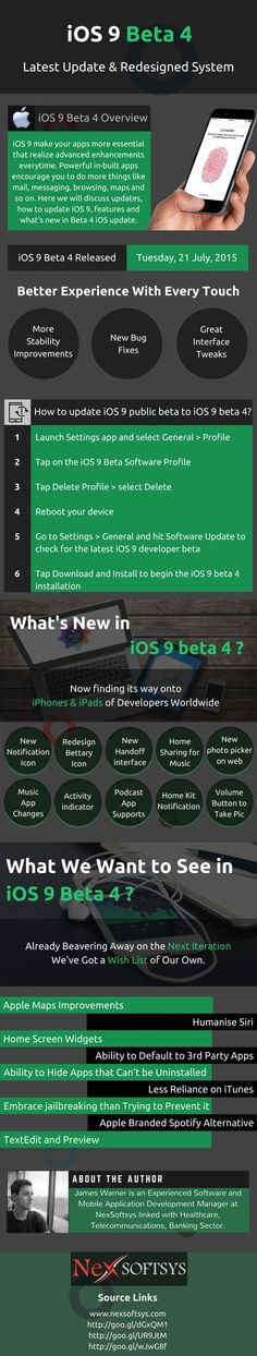 #iOS 9 Beta 4 – Operating System #Development Is Redesigned For Better Usage  -  Solution for iOS Development updates : -  Latest iOS 9 Beta 4 overview  -  How to update iOS 9 beta to iOS 9 beta 4? -  What's new in iOS 9 Beta 4? -  What #iOS #developers expect from this update in future?
