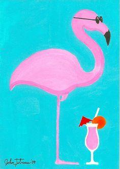 Drink, Flamingo  (an original painting) by John Tebeau. $99.00, via Etsy.
