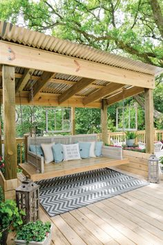 like the mix of old and new, tin roof, wouldnt do the swing tho, just giant cushy bench - Gardening For You