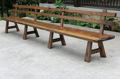 Custom Made Live Edge Barn Wood Bench With Back Rest - 15' Long