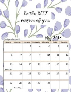 May 2018 Calendar With Inspirational Quotes