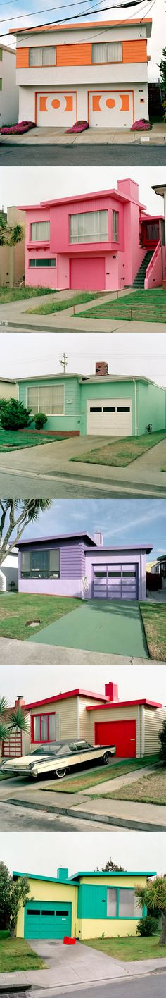 Freshly painted houses, a series by Jeff Brouws.