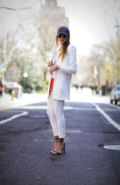 White Blazer styled by We Wore What. #whiteblazer #howtostyle #ootd #outfitinspiration #repeatoffender #weworewhat #leathercap #tibi #streetstyle in love!