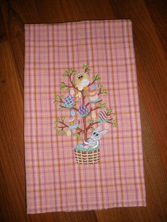 Easter Embroidered Towel   Bunny Tweet by LynnsCozyQuilts on Etsy, $8.99