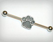 Industrial Barbell, industrial piercing, Jewelry, Industrial bar earring, Surgical Steel, Paw