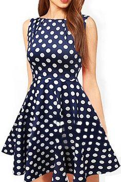 Jewel Neck Polka Dot Dress