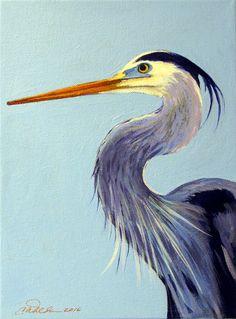 Great Blue Heron paintings waterbirds beach art original heron blue by AbingdonArts on Etsy